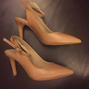 Nude ankle strap pumps NWOT